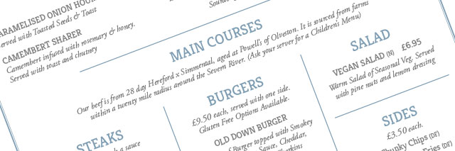 Old Down Steak Barn food menu